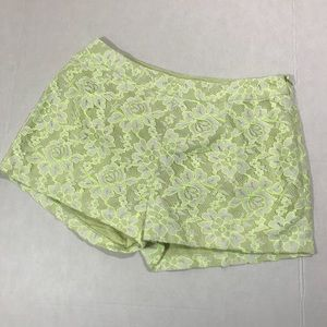 Romeo & Juliet Couture Lime green lace shorts